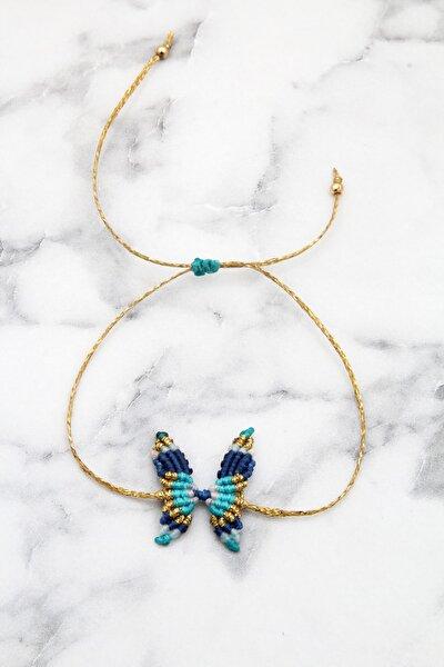 Kadın Lacivert Mavi El Yapımı Makrame Kelebek Bileklik