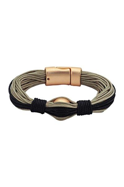 Deri Bileklik - 0059 - Altın - 18 cm