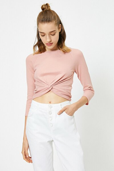 Kadın Pembe Büzgülü Uzun Kollu T-Shirt