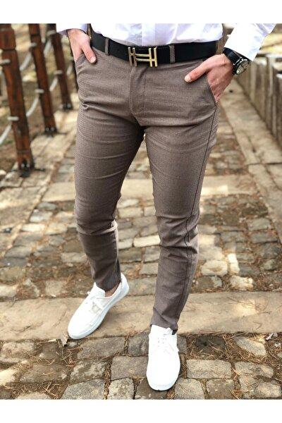 Erkek Kahverengi Dj Plus Petek Desen Keten Pantolon