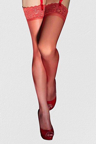 Kırmızı Kaydırmaz Silikonlu Dantelli Jartiyer Çorabı 388