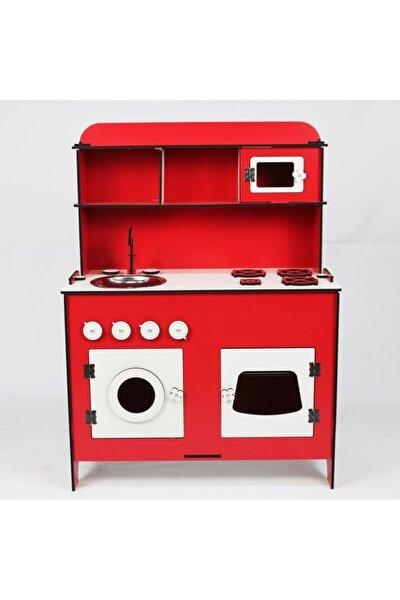 Doğal 75 cm Ahşap Mutfak Hayal Oyun Mutfağı Portatif Oyuncak