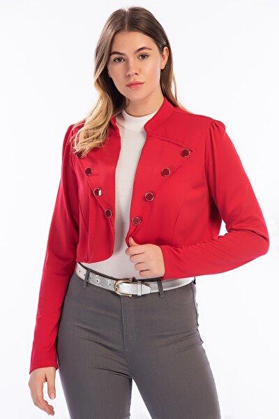 Kadın Kırmızı Düğme Detaylı Kısa Bolero Ceket 26A12715Kırmızı
