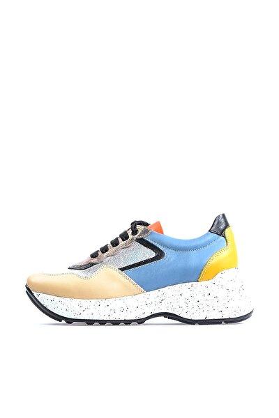 Hakiki Deri Multicolor Taban Detaylı Kadın Spor Ayakkabı