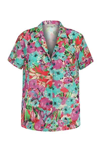 Kadın Multi Renk Çiçek Desenli Pamuklu Bluz 1216665