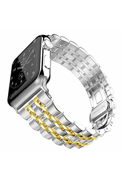 Apple Watch 2 3 4 5 6 Serisi 44 mm Metal Baklalı Saat Kordonu Gold İşlemeli