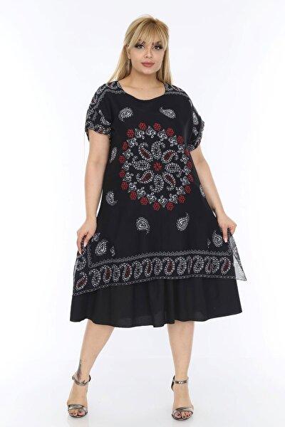 Kadın Büyük Beden Siyah Tülbent Kumaş Yazlık Elbise
