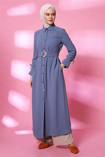 Kadın Gri Mavi Pardesü  20y8206