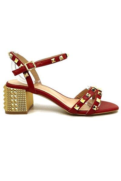 Kadın Kırmızı Hakiki Deri Topuklu Sandalet