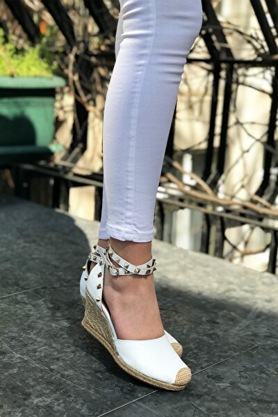 Kadın Beyaz Hakiki Deri Hasır Tabanlı Dolgu Topuklu Ayakkabı
