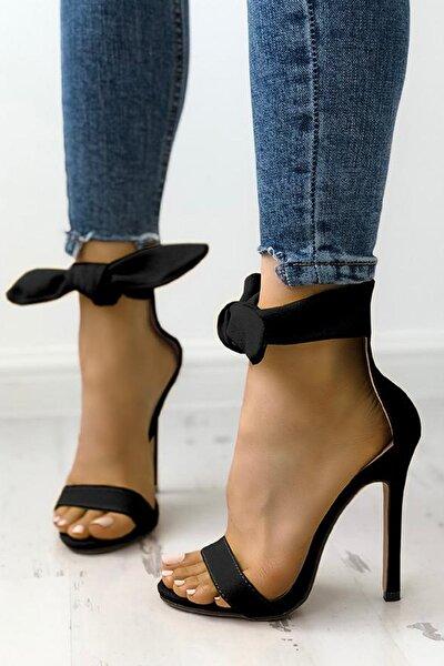 Siyah Süet Fiyonklu Topuklu Ayakkabı Lax
