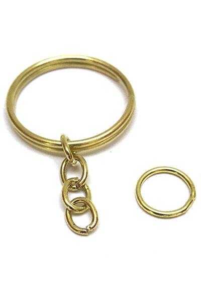 Anahtarlık Halkası 2,5 cm Çap 4 Halka Ve 1 C Aparatı Ile Altın Renk 50 Adet