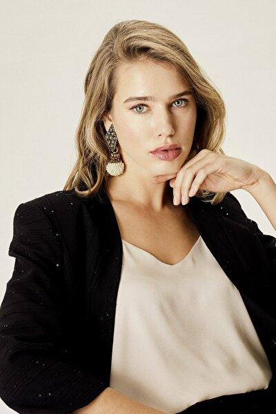 Kadın Siyah Pullu Klasik Ceket