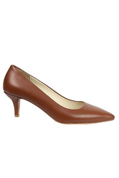 Kadın Taba Hakiki Flotur Deri Topuklu Ayakkabı