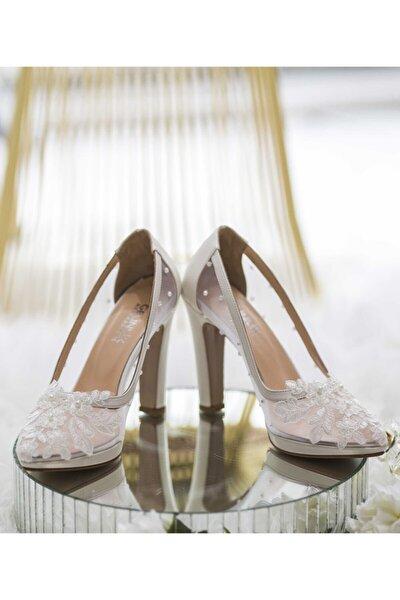 Kadın Beyaz File Detay Dantelli Kalın Topuklu Ayakkabı