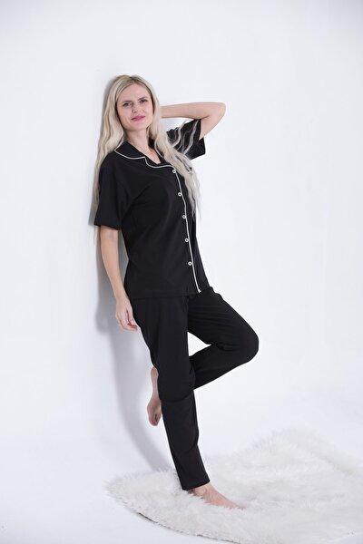 Siyah - Saten Biyeli Lüks Pamuklu Likralı Kısa Kollu Gömlek Yaka Düğmeli Pijama Takımı
