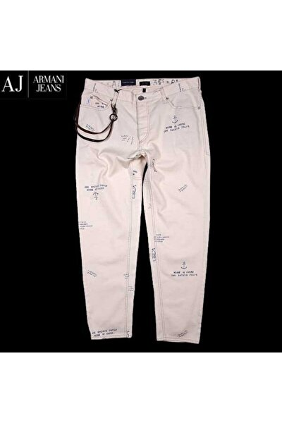 Armanı Jeans Erkek Beyaz Baskılı Jeans Pantolon