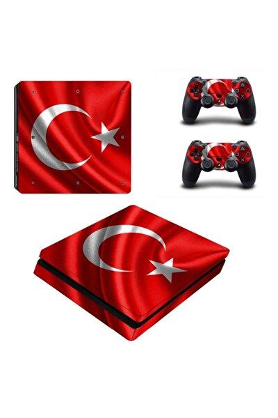 Dalgalı Türk Bayrağı Playstation 4 Slim Kasa Sticker Kaplama