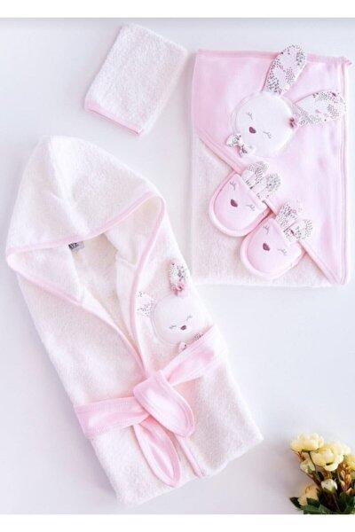 Yeni Koleksiyon Kız Bebek Havlu Bornoz Seti 100826 Pembe - Bebek Doğum Hediyesi