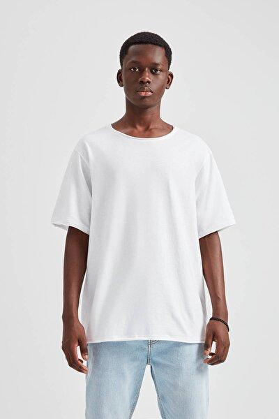 Erkek Beyaz Düz Renkli Basic T-Shirt 09244525
