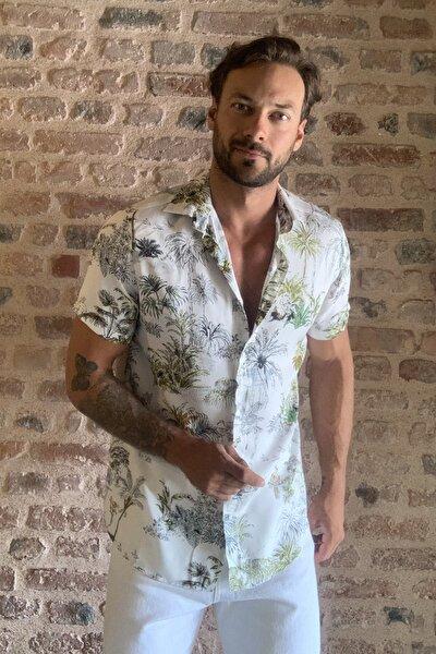 Beyaz Erkek Regular Fit Gömlek Yaka Kısa Kollu Desenli Gömlek TMNSS20GO0127