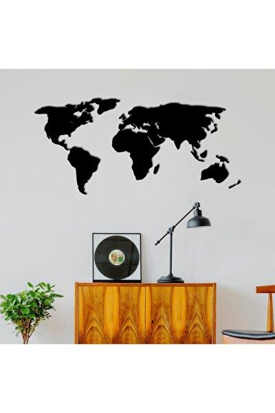 Dekoratif Tablo Dünya Haritası 140cm - Siyah