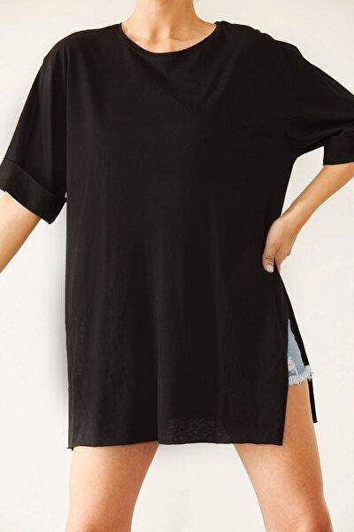 Kadın Siyah Boyfriend Basic Tişört 0YZK1-10343