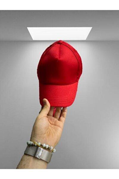 Unisex Kırmızı Düz Şapka