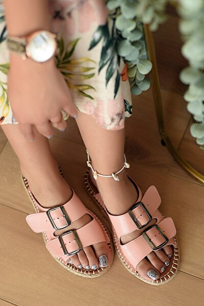 Kadın Pembe Pudra Potin  Sandalet