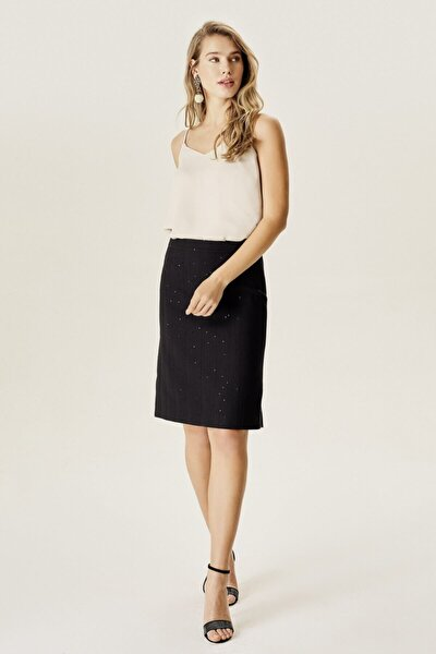 Kadın Siyah Pullu Klasik Etek