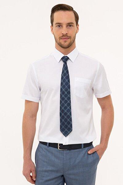 Erkek Beyaz Regular Fit Basic Kısa Kollu Gömlek