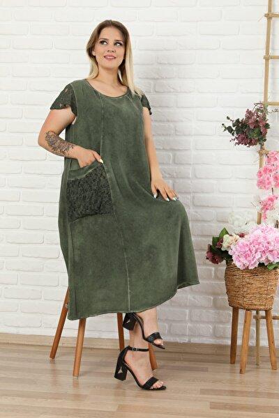 Kadın Haki Yeşil Büyük Beden Kolu Cebi Güpür Detay Lı Yıkamalı Viskon Elbise