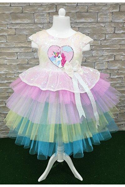 Unıcorn Özel Gün Doğum Günü Kız Çocuk Elbisesi