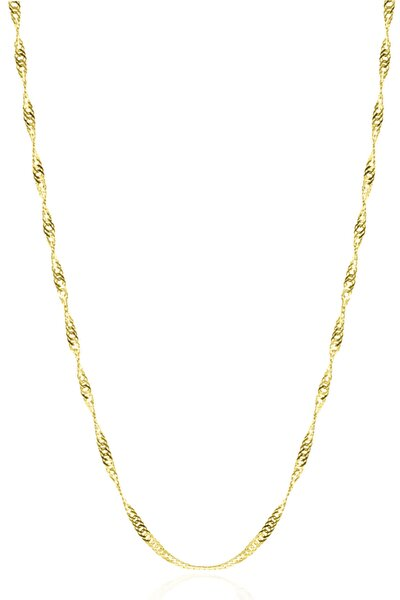 Kadın Gümüş Singapur Burgulu Zincir 24 Ayar Altın Kaplama Burgu Kolye Özel 1.2mm Mücevher