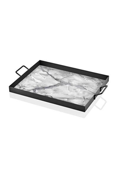 Dekor Tepsi Mermer Desen-Siyah-Beyaz 40 x 30 Cm
