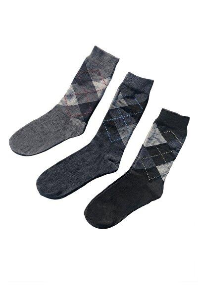 12'li Paket Ekonomik Ekose Desen Pamuklu Erkek Çorap