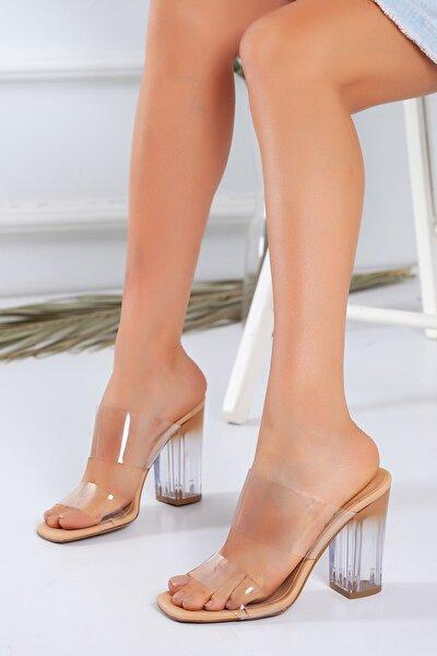 Kadın Nude Şeffaf Topuklu Ayakkabı