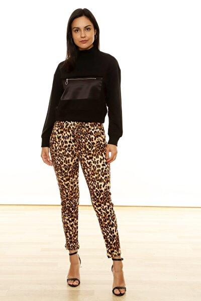 Kadın Kahverengi Leopar Desenli Havuç Pantolon