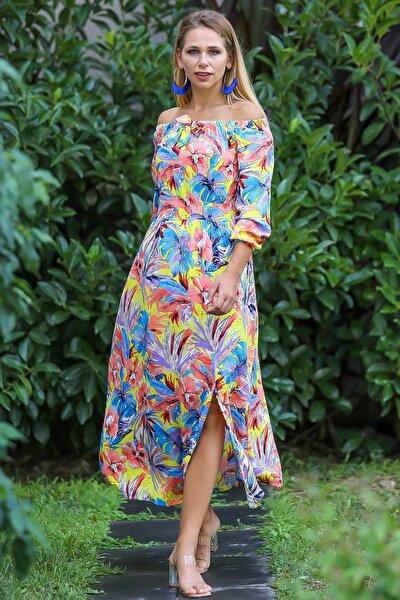 Kadın Turuncu Bohem Carmen Yaka Sırtı Fermuar Detaylı Yırtmaçlı Uzun Elbise M10160000El96499