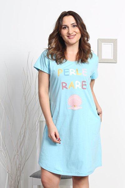 Kadın Mavi Eteği Oval Tunik Gecelik