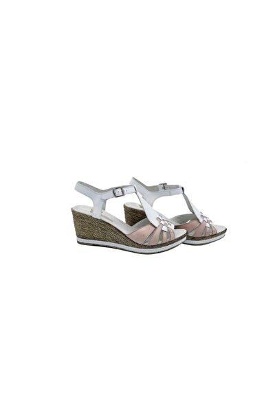 Kadın  Beyaz Pembe Hakiki Deri Sandalet 505041015-1