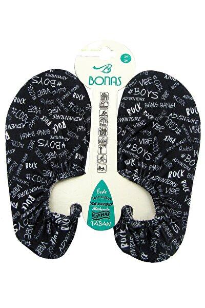 Çocuk Siyah Yazılı Desen Kaymaz Taban Havuz Ve Deniz Ayakkabısı