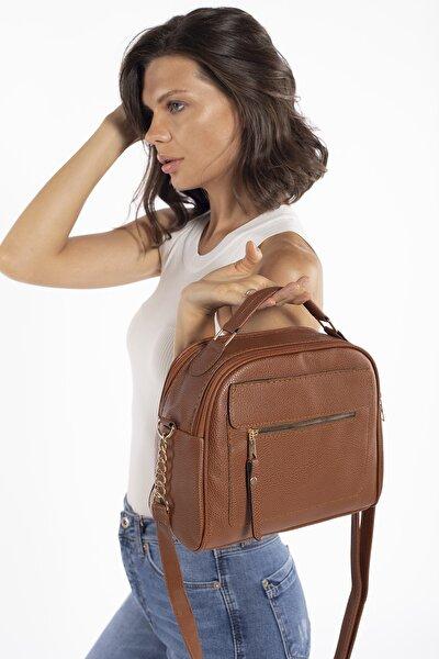 Aynı Butikte 2.Ürün 1 TL Taba Kadın Çok Bölmeli Omuz Çantası Çapraz Çanta ve El Çantası