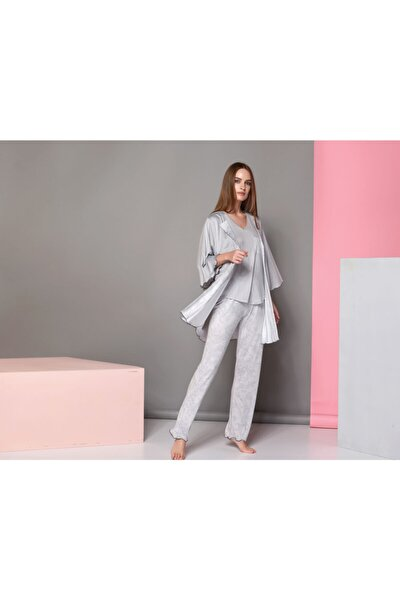 Kadın  Gri Çizgili Pijama Takım 3'Lü