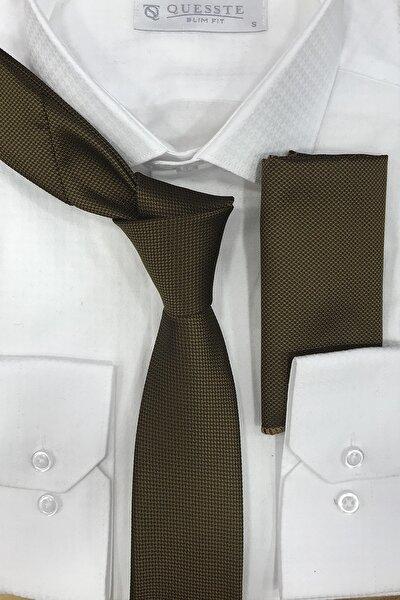 Erkek Haki Quesste Armür Dokumalı Noktalı Mendilli Ince Kravat 6 cm