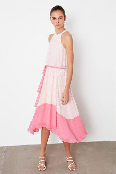 Kadın Pembe Renk Geçişli Elbise IS1200002378033