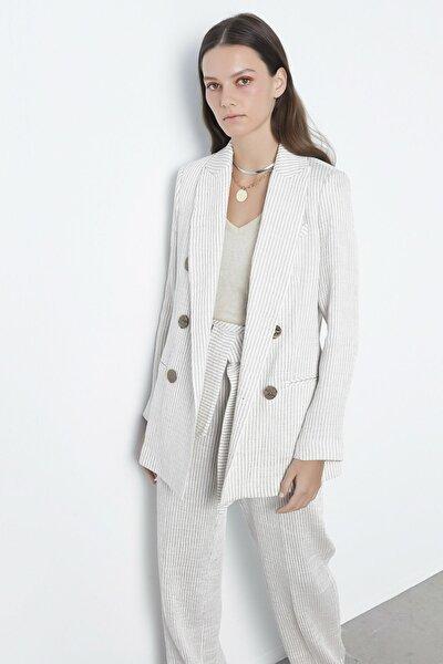 Kadın Bej Çizgili Ceket IS1200005139003