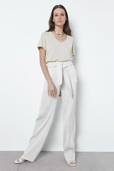 Kadın Bej Çizgili Pantolon IS1200003162003