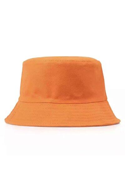 Düz Turuncu Kova Şapka Orange Bucket Hat