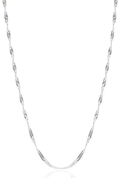Kadın Gümüş Singapur Burgulu Zincir Burgu Kolye Özel 1.2mm Mücevher